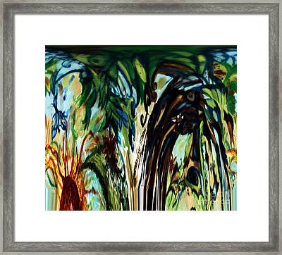 Music In Bird Of Tree Drip Painting Framed Print by Genevieve Esson