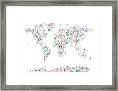 Music Notes Map Of The World Framed Print by Michael Tompsett