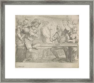 Musicians And Drink In A Tavern, Jan Miense Molenaer Framed Print by Jan Miense Molenaer