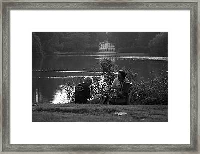 Musicians By The Pond Framed Print by Aidan Moran