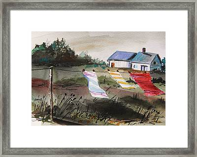 Musing-kitchen Towels Framed Print by John Williams