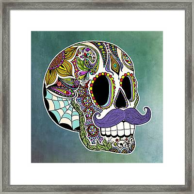 Mustache Sugar Skull Framed Print by Tammy Wetzel