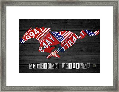 Mustang An American Original License Plate Art Framed Print by Design Turnpike