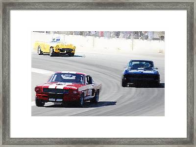 Mustang And Corvette Racing Watercolor Framed Print by Naxart Studio
