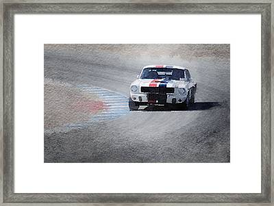 Mustang On Race Track Watercolor Framed Print by Naxart Studio