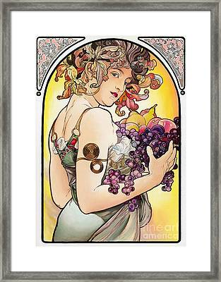My Acrylic Painting As An Interpretation Of The Famous Artwork By Alphonse Mucha - Fruit Framed Print by Elena Yakubovich