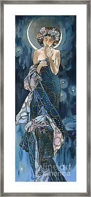 My Acrylic Painting As An Interpretation Of The Famous Artwork Of Alphonse Mucha - Moon - Framed Print by Elena Yakubovich