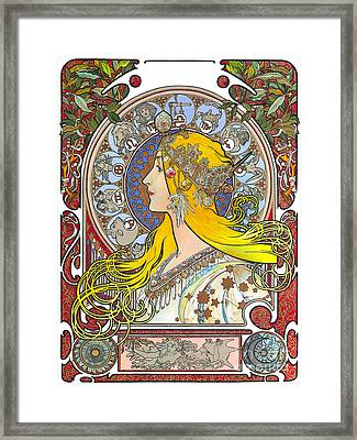 My Acrylic Painting As An Interpretation Of The Famous Artwork Of Alphonse Mucha - Zodiac - Framed Print by Elena Yakubovich