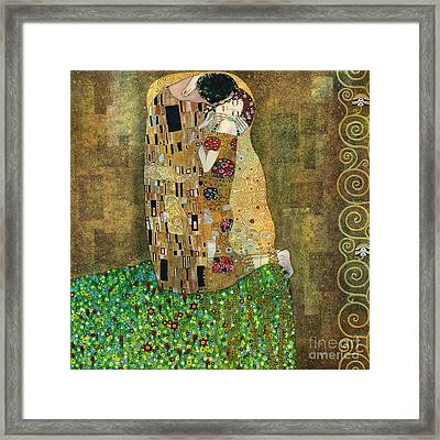 My Acrylic Painting As An Interpretation Of The Famous Artwork Of Gustav Klimt The Kiss - Yakubovich Framed Print by Elena Yakubovich