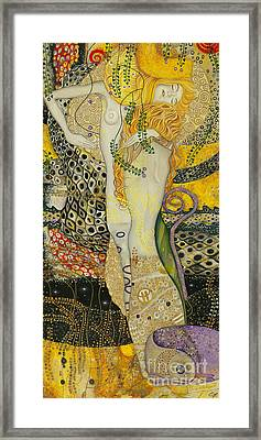 My Acrylic Painting As An Interpretation Of The Famous Artwork Of Gustav Klimt - Water Serpents I Framed Print by Elena Yakubovich