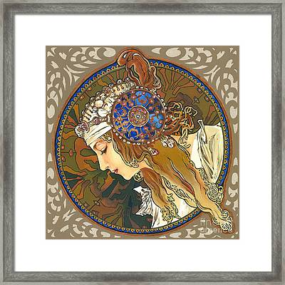 My Acrylic Painting As Interpretation Of Alphonse Mucha- Byzantine Head. The Blonde. Diagonal Frame. Framed Print by Elena Yakubovich