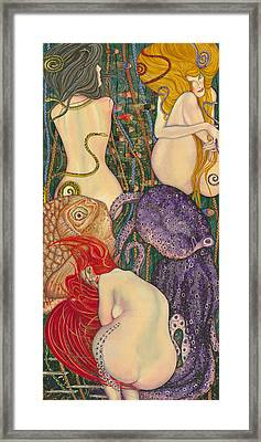 My Acrylic Painting Inspired By Klimt - Goldfish - Beethoven Frieze - Jurisprudence Final State - Framed Print by Elena Yakubovich