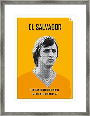 My Cruijff Soccer Legend Poster Framed Print by Chungkong Art