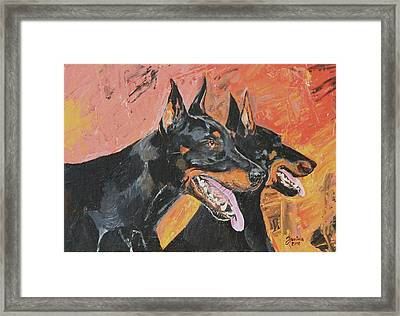 My Dobermans Framed Print by Janina  Suuronen