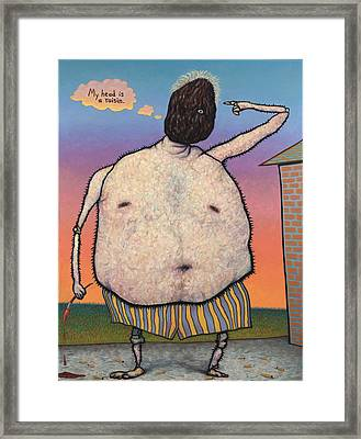 My Head Is A Raisin. Framed Print by James W Johnson