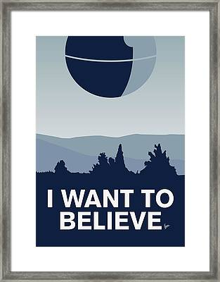 My I Want To Believe Minimal Poster-deathstar Framed Print by Chungkong Art