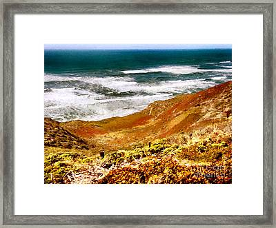 My Impression Of California Coastline Framed Print by Bob and Nadine Johnston