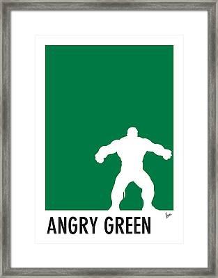 My Superhero 01 Angry Green Minimal Poster Framed Print by Chungkong Art