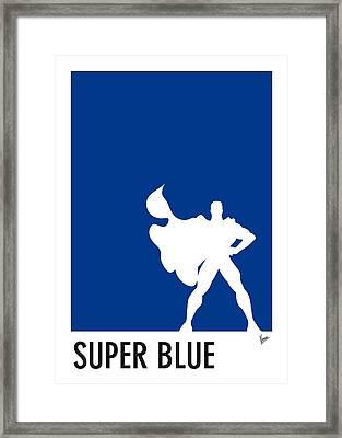 My Superhero 03 Super Blue Minimal Poster Framed Print by Chungkong Art