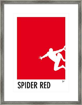 My Superhero 04 Spider Red Minimal Poster Framed Print by Chungkong Art