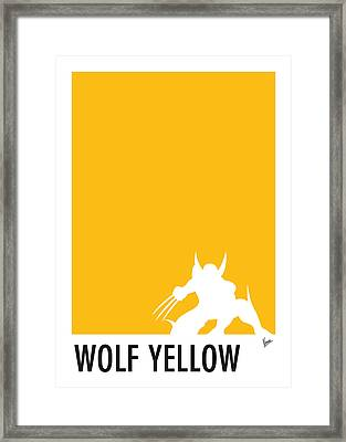 My Superhero 05 Wolf Yellow Minimal Poster Framed Print by Chungkong Art