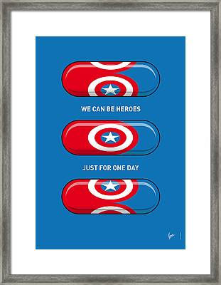 My Superhero Pills - Captain America Framed Print by Chungkong Art