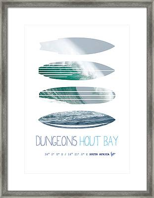 My Surfspots Poster-4-dungeons-cape-town-south-africa Framed Print by Chungkong Art