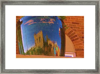 My Town Reflected In A Blue Pot Framed Print by Feva  Fotos