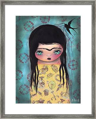 My Yellow Dress Framed Print by  Abril Andrade Griffith