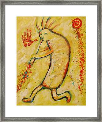 My Yellow Kokopelli Framed Print by Carol Suzanne Niebuhr