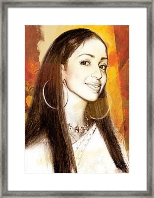 Mya Marie Harrison - Stylised Drawing Art Poster Framed Print by Kim Wang