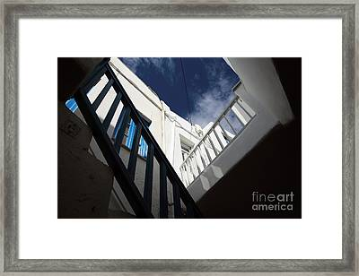 Mykonos Town Angles Framed Print by John Rizzuto