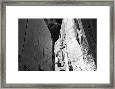 Mykonos Town White Buildings Mono Framed Print by John Rizzuto