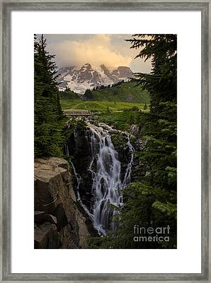 Myrtle Falls Morning Light Framed Print by Mike Reid