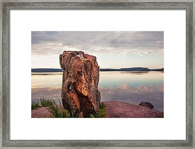 Mysterious Stone. Frontier In Between Old And New World Framed Print by Jenny Rainbow