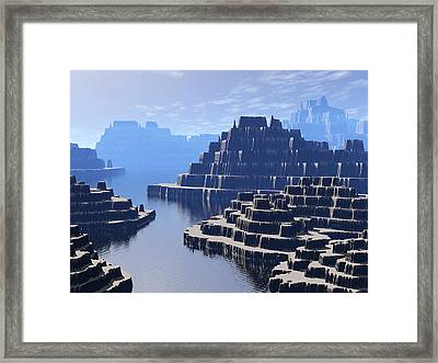 Mysterious Terraced Mountains Framed Print by Phil Perkins