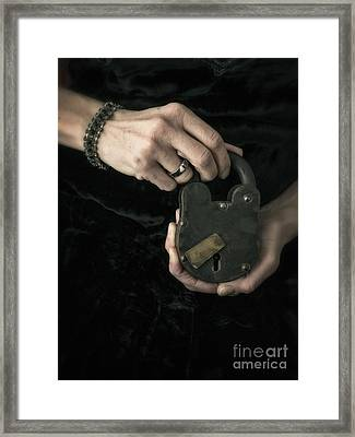 Mysterious Woman With Lock Framed Print by Edward Fielding