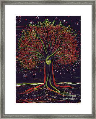 Mystic Spiral Tree Red By Jrr Framed Print by First Star Art