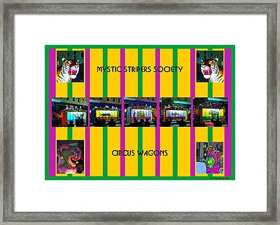 Mystic Stripers Society Circus Wagons Framed Print by Marian Bell