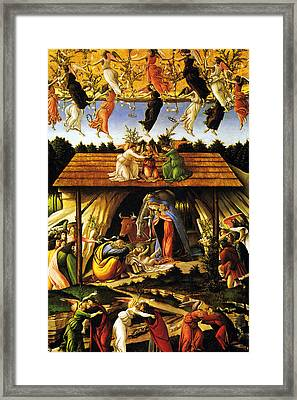 Mystical Nativity Sandrobotticelli Framed Print by Munir Alawi