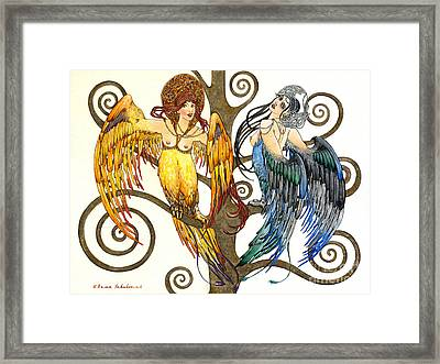 Mythological Birds-women Alconost And Sirin- Elena Yakubovich  Framed Print by Elena Yakubovich