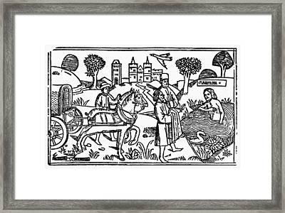Naaman Bathing Framed Print by Granger