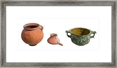 Nabatean Clay Vessels Framed Print by Photostock-israel