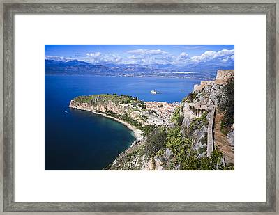 Nafplio Peninsula Framed Print by David Waldo