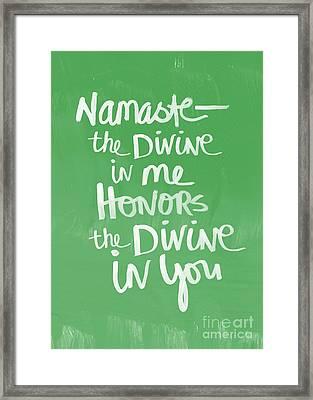 Namaste Card Framed Print by Linda Woods