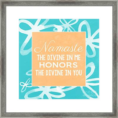 Namaste Watercolor Flowers- Blue Framed Print by Linda Woods