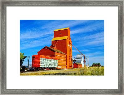 Nanton Grain Elevators  Framed Print by Jeff Swan