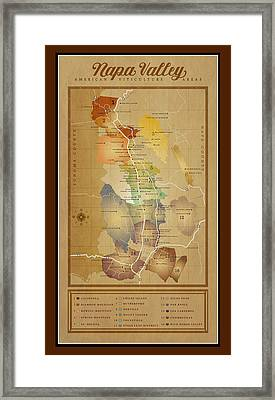 Napa Valley Ava Map Framed Print by Marc Bell
