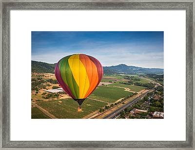 Napa Valley Balloon Aloft Framed Print by Steve Gadomski