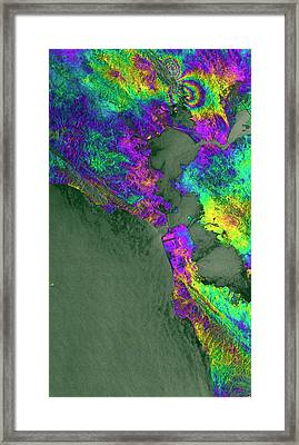 Napa Valley Earthquake Framed Print by Esa/ppo.labs/norut/comet-seom Insarap Study